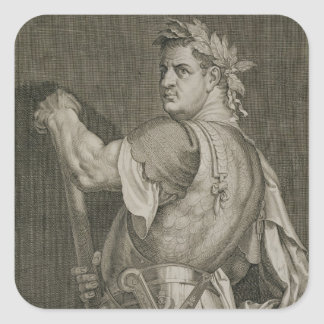 Emperador de D. Titus Vespasian del engrav del Pegatina Cuadrada