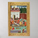 Emperador de Mughal que festeja en un patio Póster