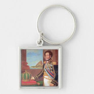 Emperador de Pedro I del Brasil, 1825 Llavero Cuadrado Plateado