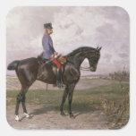 Emperador Francisco José I en su caballo austríaco Pegatina Cuadrada