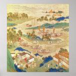 Emperador Hui Tsung que transporta piedras perfora Póster