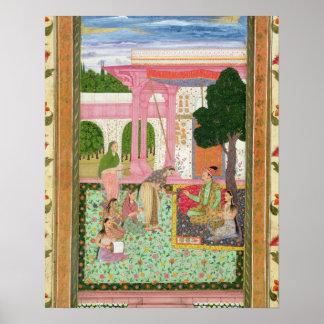 Emperador Jahangir (1569-1627) con su consorte y Póster