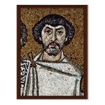 Emperador justiniano y su corte, y obispo Maxim Postales