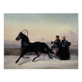 Emperador Nicolás I que conduce en un trineo Posters