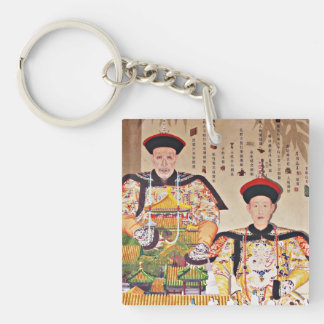 Emperador Qianlong Llavero Cuadrado Acrílico A Doble Cara