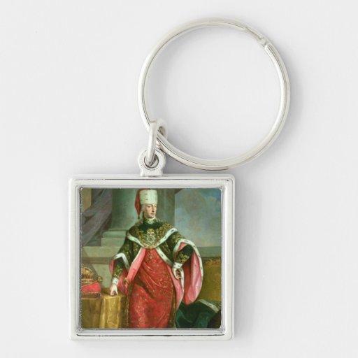 Emperador romano santo de Francisco I del emperado Llavero Cuadrado Plateado