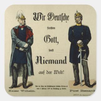 Emperador Wilhelm I y príncipe Bismarck Pegatina Cuadrada