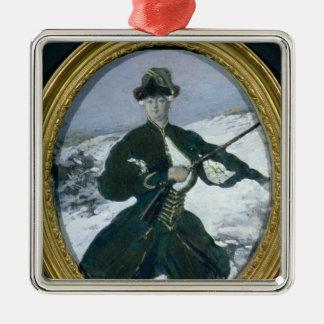 Emperatriz Elizabeth Hunting, 1902 Adorno Cuadrado Plateado