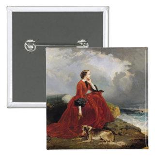 Emperatriz Eugenie en Biarritz, 1858 Pin Cuadrado
