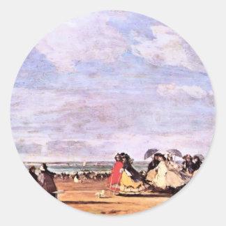Emperatriz Eugenie en la playa en Trouville Etiquetas Redondas