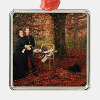 Emperatriz Eugenie y Eugene-Louis Napoleon Adorno Cuadrado Plateado