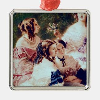 Emperatriz Eugenie y sus señoras en esperar Adorno Navideño Cuadrado De Metal