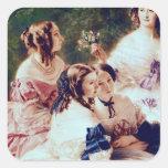Emperatriz Eugenie y sus señoras en esperar Pegatina Cuadrada