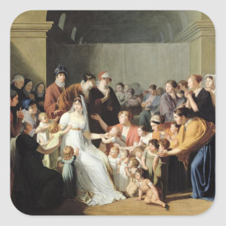 Emperatriz Josephine entre los niños, 1806 Pegatina Cuadrada