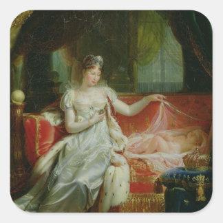 Emperatriz Marie-Louise y el rey de Roma, 1812 Calcomanías Cuadradas Personalizadas