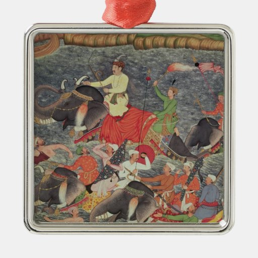Emperor Akbar  crossing the River Ganges Christmas Tree Ornaments
