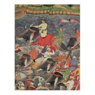 Emperor Akbar  crossing the River Ganges Postcard