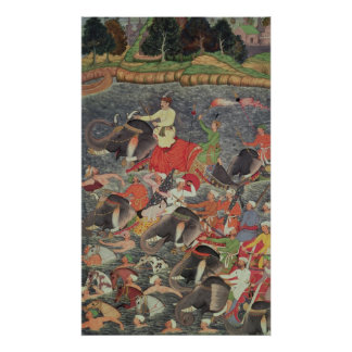 Emperor Akbar crossing the River Ganges Print