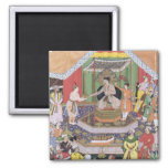 Emperor Akbar (r.1556-1605) entertained by his fos 2 Inch Square Magnet