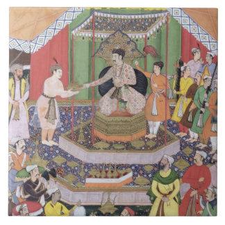 Emperor Akbar (r.1556-1605) entertained by his fos Tile