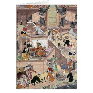 Emperor Akbar (r.1556-1605) inspecting the buildin Card