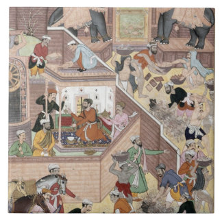 Emperor Akbar (r.1556-1605) inspecting the buildin Ceramic Tile