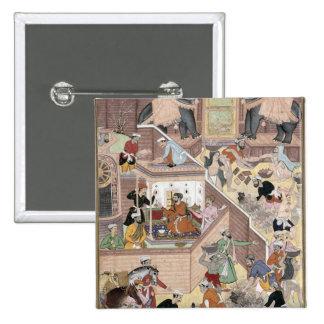 Emperor Akbar (r.1556-1605) inspecting the buildin Pinback Button