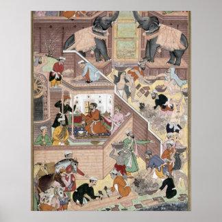Emperor Akbar (r.1556-1605) inspecting the buildin Poster