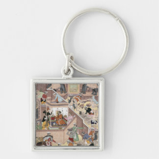 Emperor Akbar (r.1556-1605) inspecting the buildin Silver-Colored Square Keychain