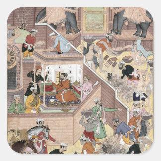 Emperor Akbar (r.1556-1605) inspecting the buildin Square Sticker
