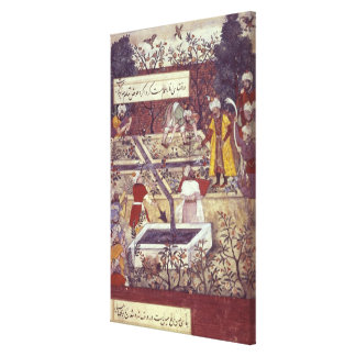 Emperor Babur and his architect plan Stretched Canvas Prints