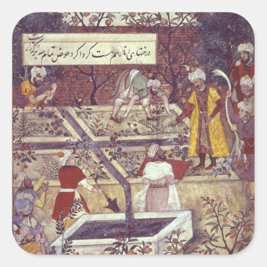 Emperor Babur and his architect plan Square Sticker