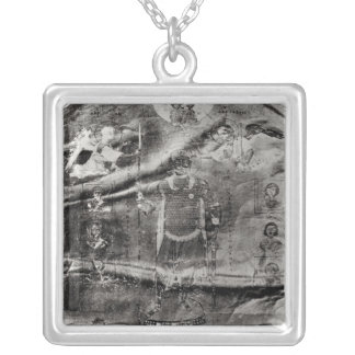 Emperor Basil II receiving a crown Square Pendant Necklace