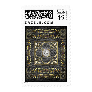 Emperor Black Stained Glass Love Postage Stamp
