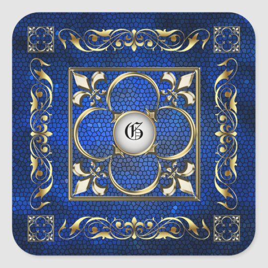 Emperor Blue Square Monogram Sticker