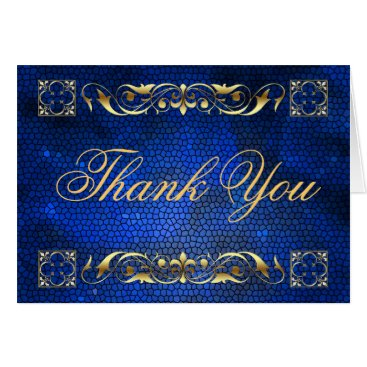 Professional Business Emperor Blue Stained Glass Thank You NoteCard
