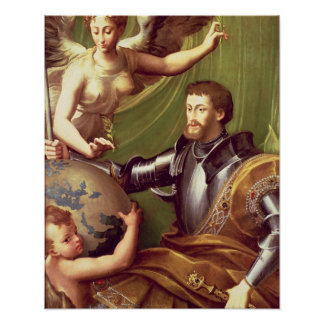 Emperor Charles V (1500-58) Receiving the World, c Poster