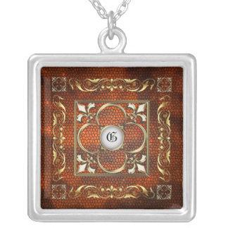 Emperor Fleur De Lis Amber Stained Glass Necklace