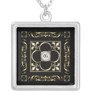 Emperor Fleur De Lis Black  Necklace