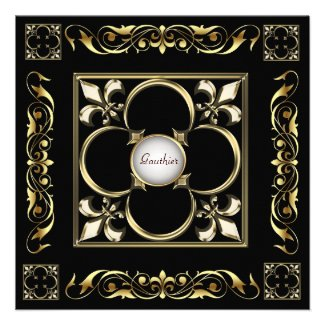 Emperor Fleur De Lis Black Regency Invitation