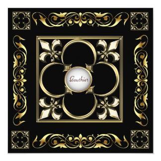 Emperor Fleur De Lis Black Regency Invitation