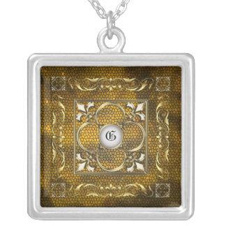Emperor Fleur De Lis Gold Stained Glass Necklace