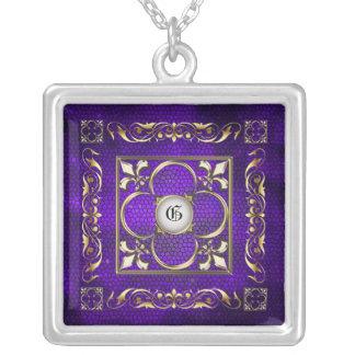 Emperor Fleur De Lis Purple Stained Glass Necklace