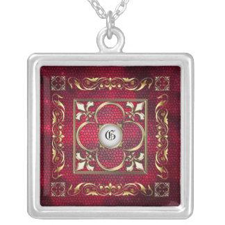 Emperor Fleur De Lis Red Stained Glass Necklace