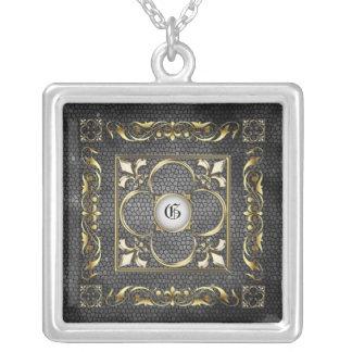 Emperor Fleur De Lis Silver Stained Glass Necklace
