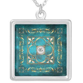 Emperor Fleur De Lis Teal Stained Glass Necklace