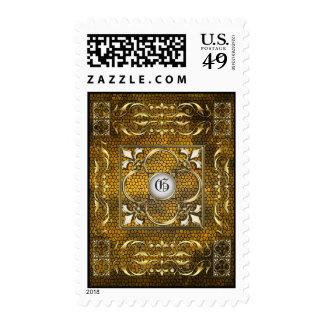 Emperor Gold Stained Glass Fleur De Lis Postage