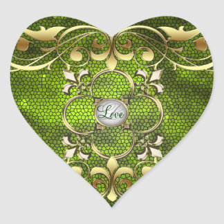 Emperor Green Heart Stained Glass Love Sticker