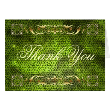 Professional Business Emperor Green Stained Glass Thank You NoteCard