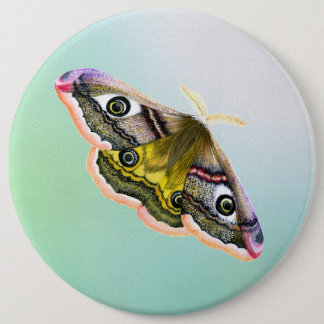 Emperor Hawk Moth Painting Watercolour Button